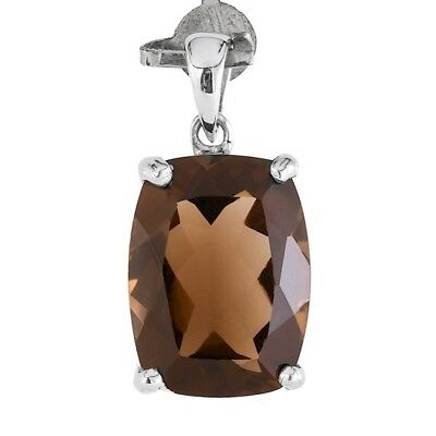 100% Natural 16X12Mm Smoky Quartz Cushion Cut Gemstone Rare Silver 925 Pendant