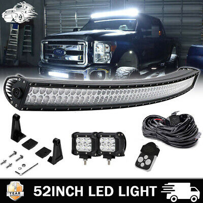 "1999-16 Ford F250 F350 Super Duty Upper Roof 52"" Curved LED Light Bar Combo Kit"