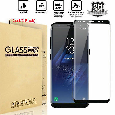 2X For Samsung Galaxy S8 S9 Plus Screen Protector Tempered Glass 3D Curved Glass
