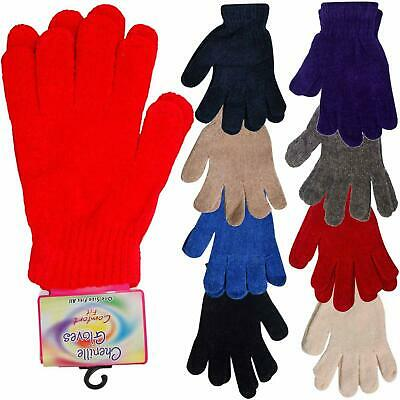 Womens Chenille Woolly Knitted Stretchable Warm Magic Gloves