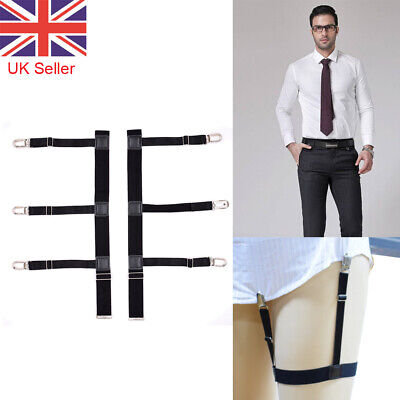T Shirt Suspenders Stays Garters Elastic Braces Holders Non-slip Locking Clamps
