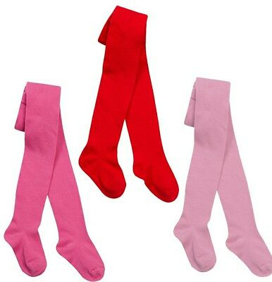 GIRLS TIGHTS i2i COTTON RICH PLAIN 2-12 YRS RED PINK DEEP PINK 3 COL 1,2,3 PAIRS