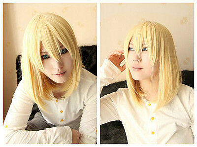 Anime Howl's Moving Castle Howl Milk Blonde Heat Resistent Cosplay Wig E127