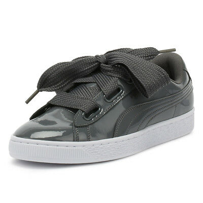 PUMA Womens Trainers Iron Gate Grey Basket Heart Patent Ladies Casual Shoes b7d1a1332