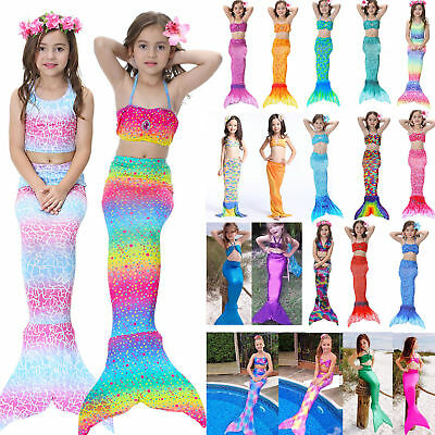 Kids Girl Mermaid Tail Sea-maid Bikini Swimwear Swimsuit Fairy Tale Swim Costume