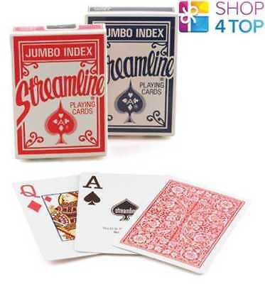 2 Decks Streamline 1 Red And 1 Blue Playing Cards Magic Tricks Poker Jumbo Index