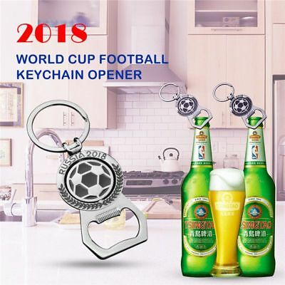 2018 World Cup Football Keychain Bottle Opener Rotary Key Chain Beer Bottle W7D1