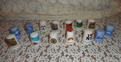 14 Collectible Advertising Thimbles Currier Ives Simms Shakers Maine Nashville +