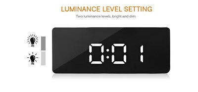 Alarm Clock Large Digital LED Display Portable Modern Battery Operated Mirror