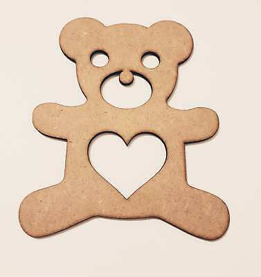 5x Mdf Wooden Teddy Bear Shape Blank Valentine's  Day Size 80mm x 70mm Craft