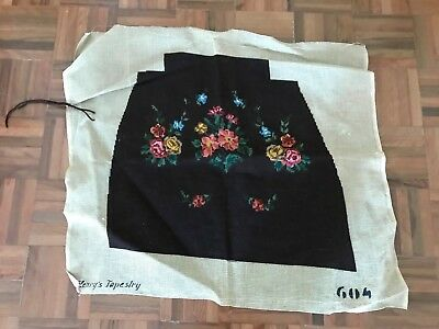 Antique henry's tapestry needlepoint french floral roses seat cover completed