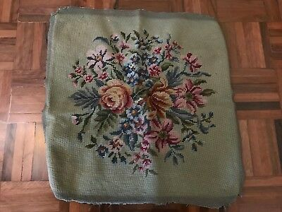 Antique tapestry needlepoint french floral bouquet roses seat stool cover