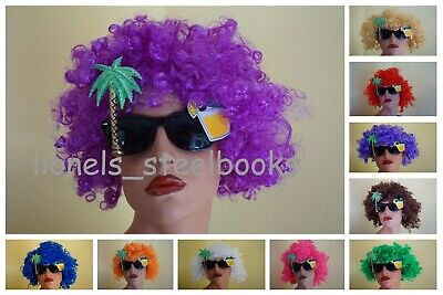 AFRO WIGS CURLY CLOWN 70s 80s FANCY DRESS 14 COLOURS HAIR HIPPY UNISEX