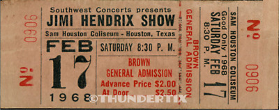 1 1968 JIMI HENDRIX VINTAGE UNUSED FULL CONCERT TICKET HOUSTON laminated repro