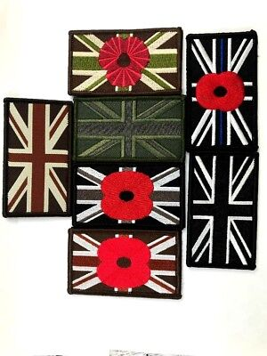 Union Jack Flag Patch Embroidered velcr0 Sew On