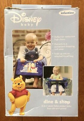 New in Box Disney Baby Dine Shop 2 in 1 Shopping Cart High Chair Cover Infantino
