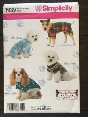 Simplicity 3939 Sewing Pattern Dog Coats Clothes Clothing Costumes S-L New