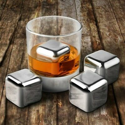 8pcs 304 Stainless Steel Whiskey Wine Stones Reuseble Cooler Ice Cubes Ball G9S9