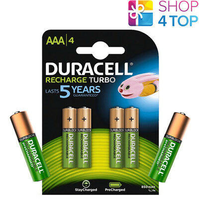 4 + 2 FREE DURACELL RECHARGEABLE AAA BATTERIES 1.2V HR03 MICRO NiMH 850mAh NEW