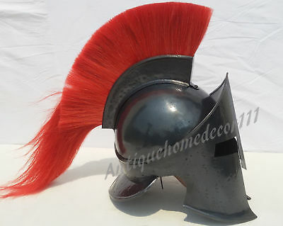 Spartan Black Finish Medieval 300 Movie Helmet With Natural Horse Hair Red Plume