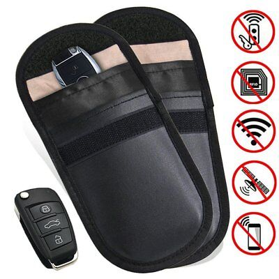 Two Lock Car Key Signal Blocker Keyless Entry Anti-Theft Fob Pouch Faraday Bag