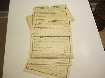 25 Brotherhood of American Yeomen membership fee receipts early 1900's