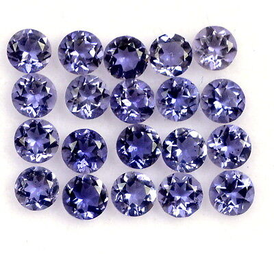 2.27 Cts Natural Iolite Round Cut 3 mm 25 Pcs Blue Lustrous Loose Gemstones