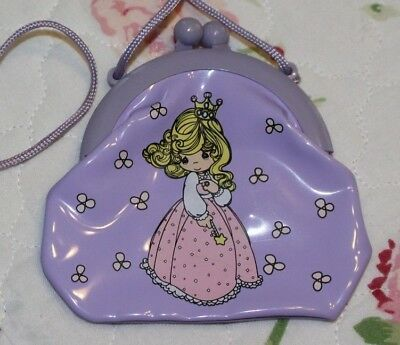 "3 3/4"" Precious Moments Little Girls' Purple Coin Purse w/ Rope Strap"