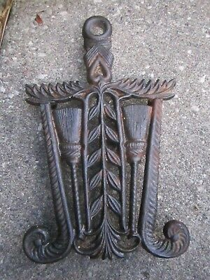 Antique WILTON  Cast Iron  Footed Trivet w 2 Brooms Design  8.5x5""