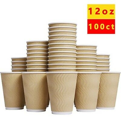Hot Paper Cups_12 oz Disposable Insulated Corrugated Sleeve Ripple Wall Paper .
