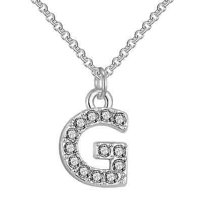 Pave Initial Necklace Letter G Created with Swarovski® Crystals by Philip Jones