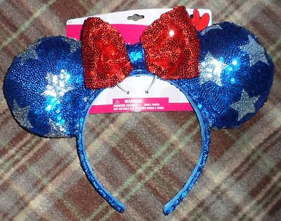Disney Minnie Mouse Ears Headband Red White Blue Sequin Stars Bow NEW