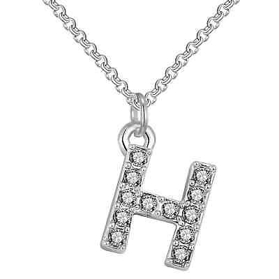 Pave Initial Necklace Letter H Created with Swarovski® Crystals by Philip Jones
