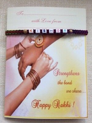 PERSONALISED Bracelet / RAKHI Quality Hand-made multi colour WITH Card