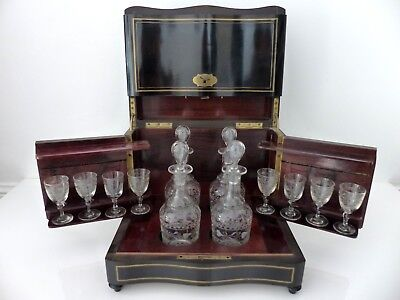 Antique French Brass Inlaid Tantalus or Liquor Cabinet Complete 4 decanters 1850