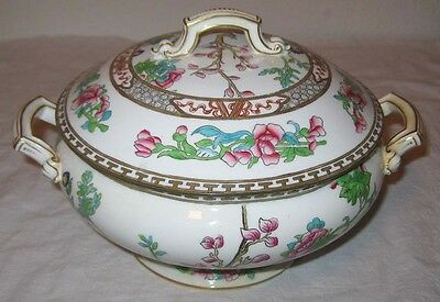 Coalport Indian Tree Round Handled Covered Vegetable Bowl England Discontinued
