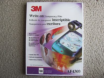 """Brand New 3M AF4300 Write-On Transparency Film 8.5"""" x 11"""" 100 Count /Box"""