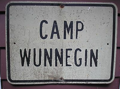 Vintage CAMP WUNNEGIN Metal Girl Scouts Road Sign Suffolk Long Island NY 1960s