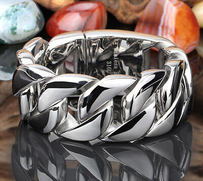 Men's Stainless Steel Polished Silver Heavy Huge Curb Link Chain Bracelet Bangle
