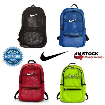 612142d768b1 NIKE BRASILIA MESH Backpack See Through Storage Bag For School Sports Tote  NEW -  47.99
