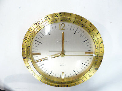 Vintage Tiffany & Co. Brass World Desk Clock 1165 Swiss Made Quartz Mvmt Rare!!!