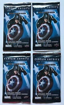 Captain America Upper Deck Marvel Movie Trading Cards 4 Pack Lot