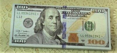 US Play Money $100, SIZE: 3.8 LONG, 1 1/2 inch WIDE. X24. NOT LEGAL TENDER memo