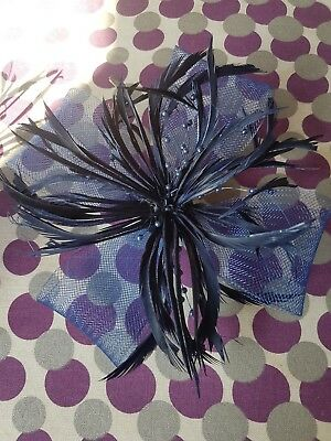 Large Beaded Net Bow & Feather Fascinator On Beak Clip Brooch Navy Blue