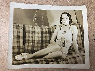 1940's Coke Ad With Lady On A Sofa (actuall Photo)