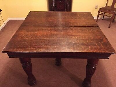 Antique Five Leg Oak Dining Table With Two Leaves And Castors Tiger Wood