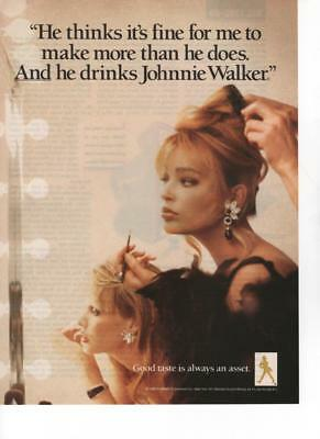 1988 - Johnnie Walker : She Makes More Than He Does,makeup  - Vintage Print Ad
