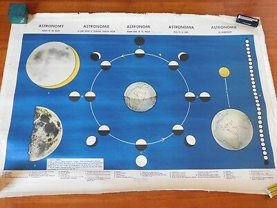 1960 Vintage Astronomy School Rolling Map Chart Phases Of The Moon Sweden Print