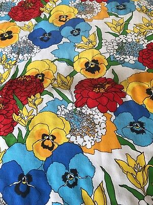 "Vintage Bloomcraft Screenprint Cotton Upholstery Fabric 48"" x 84"""
