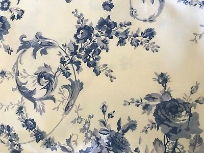 Ralph Lauren Roses Toile Fabric Blue and Off White 2 Yds
